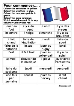 FRENCH - STARTER - Colour match activities, weather, compa