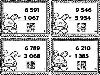 Cartes à tâches : La soustraction de 4 chiffres (avec code QR)