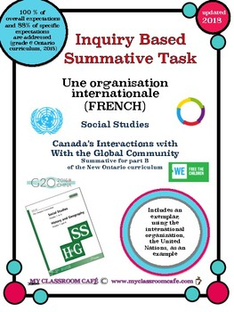 FRENCH Summative Task Social Studies 2018 Canada's Interactions Global Community