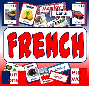 FRENCH TEACHING RESOURCES display posters flashcards colours food LANGUAGE