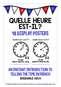 FRENCH TELLING THE TIME (2) - 48 POSTERS / FLASHCARDS