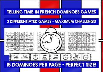 FRENCH TELLING TIME - 3 DIFFERENTIATED DOMINOES GAMES (1)