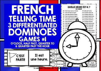 FRENCH TELLING TIME 3 DIFFERENTIATED DOMINOES GAMES (1)
