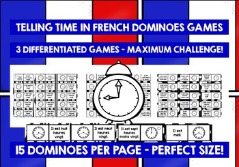 FRENCH TELLING TIME - 3 DIFFERENTIATED DOMINOES GAMES (3)
