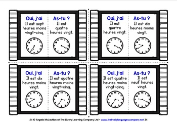 FRENCH TELLING TIME (3) - I HAVE, WHO HAS? 2 GAMES, 2 CHALLENGES!