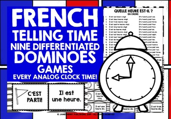 FRENCH TELLING TIME - 9 DIFFERENTIATED DOMINOES GAMES - EVERY ANALOG CLOCK TIME!