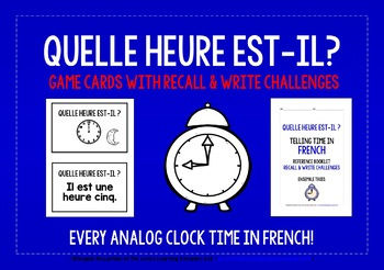 FRENCH TELLING TIME GAMES CARDS & RECALL CHALLENGES EVERY ANALOG CLOCK TIME!