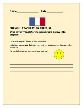 FRENCH TO ENGLISH TRANSLATION QUIZ-FUN EXERCISE
