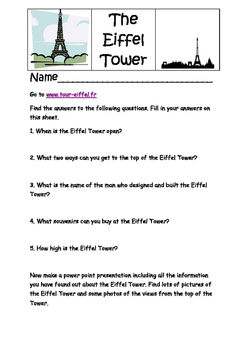 FRENCH -  The Eiffel Tower - Internet worksheet