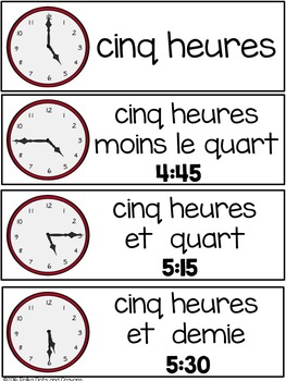 french telling time vocabulary cards and student clock activity tpt. Black Bedroom Furniture Sets. Home Design Ideas