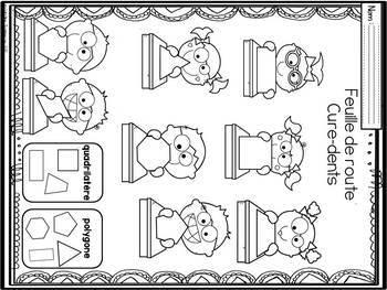 FRENCH Toothpick Shape Mats / Géométrie- Formes géométriques avec cure-dents