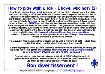 FRENCH VERBS (1) - I HAVE, WHO HAS? 2 GAMES, 2 CHALLENGES!