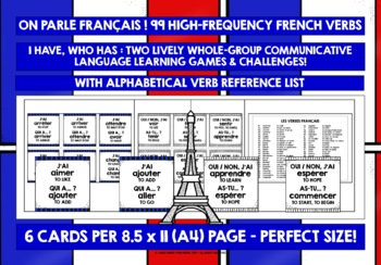 FRENCH VERBS I HAVE, WHO HAS?
