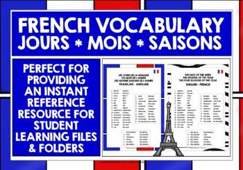 FRENCH DAYS, MONTHS, SEASONS VOCABULARY REFERENCE LIST