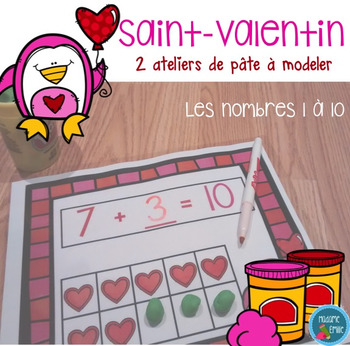 FRENCH Valentine Playdough Mats/ Nombres de Saint-Valentin en pâte à modeler