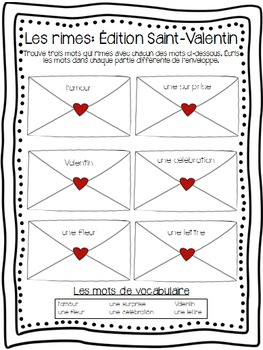 FRENCH Valentine's Day Activities, Vocabulary and Cards - La Saint-Valentin