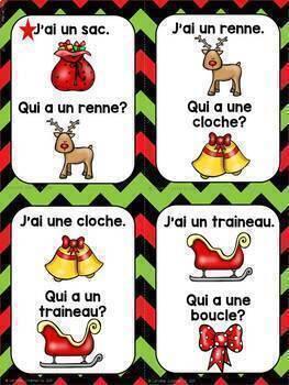 FRENCH Vocabulary Game  J'ai...Qui a...? NOËL