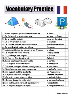 FRENCH - VOCABULARY PRACTICE 1