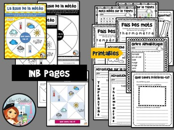 FRENCH WEATHER INTERACTIVE NOTEBOOK PAGES & PRINTABLES