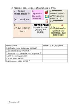 FRENCH - WORKSHEET - Les Magasins (Shops)