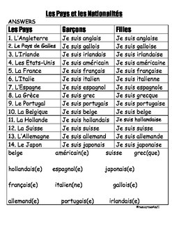 FRENCH - WORKSHEET - Les Pays et les Nationalités (Countries and Nationalities)