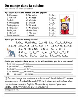 FRENCH - WORKSHEET -on mange dans la cuisine ( rooms and present tense verbs)