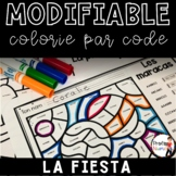 FRENCH  WORKSHEETS COLOR BY CODE - LA FIESTA - MODIFIABLE