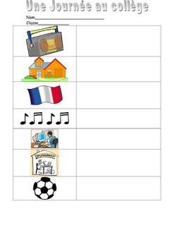 FRENCH - WORKSHEETS - Journée au Collège