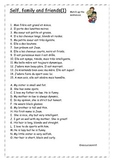 FRENCH - WORKSHEETS - Self, family and friends