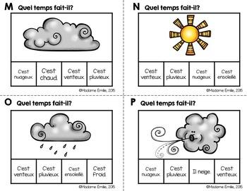 FRENCH {Weather Clip cards}/ Cartes à clip {Météo}