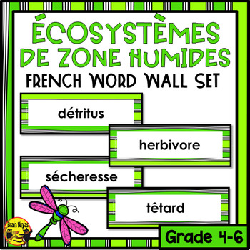 FRENCH Wetlands Word Wall Words- Editable
