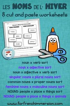 FRENCH Winter Nouns Cut and Paste Worksheets | HIVER | pour l'hiver français