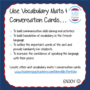 FRENCH- Winter Olympics VOCAB MAT & CONVERSATION CARDS