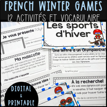 FRENCH Winter Olympics Vocabulary Cards and Activity Package