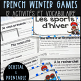 FRENCH Winter Olympics Vocabulary Cards & Activities - WINTER GAMES/JEUX D'HIVER