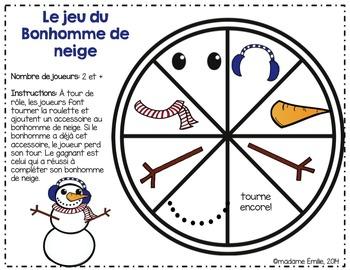 FRENCH {Winter} Snowman Game/ Jeu du Bonhomme de neige