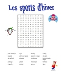 FRENCH Winter Sports Les sports d'hiver word search