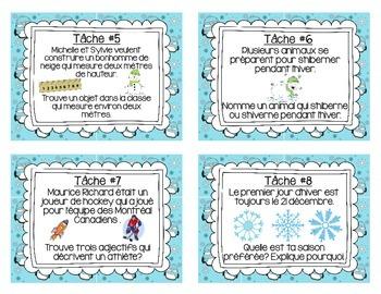 FRENCH Winter Task Cards (L'hiver - Les cartes à tâches)
