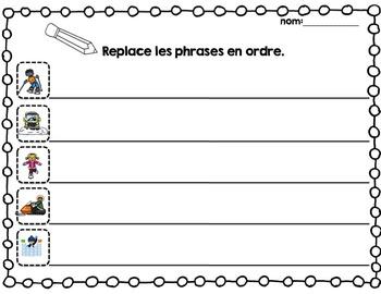 FRENCH {Winter} scrambled sentences/Phrases en désordre {Hiver}