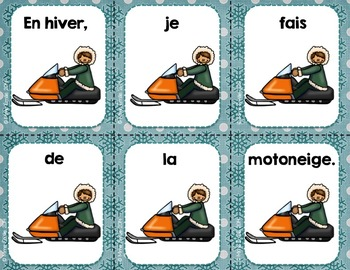FRENCH {Winter} scrambled sentences/Phrases en désordre {Hiver}