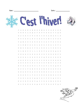FRENCH- Winter/Hiver Vocabulary worksheet and WordSearch & KEY
