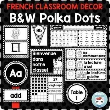 French classroom decor set POLKA DOTS