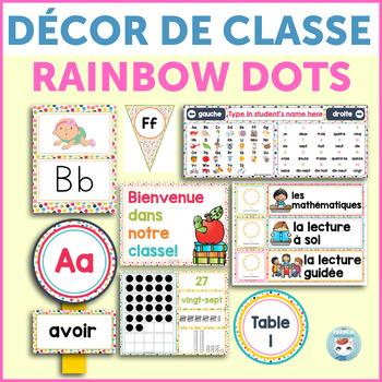 French classroom decor set RAINBOW DOTS