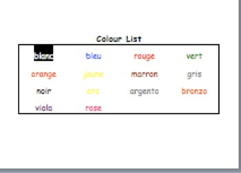 word activities for colours in french by italienfrancese tpt