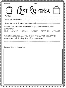 FRENCH and ENGLISH Art Response Printable