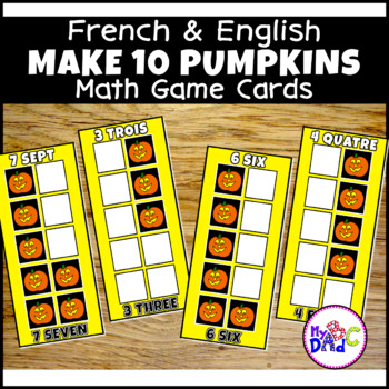 FRENCH and ENGLISH Build 10 Hearts Large Math Game Cards