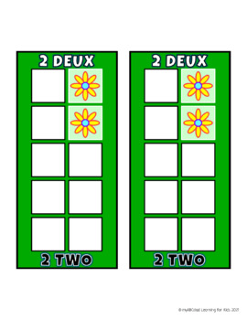 Build 10 Math Game Cards in English and French Handheld Size with Flowers