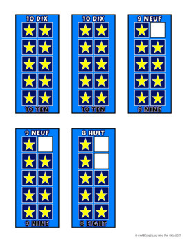 FREE FRENCH and ENGLISH Build 10 Stars Math Game Cards