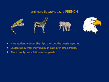 FRENCH animals jigsaw puzzle