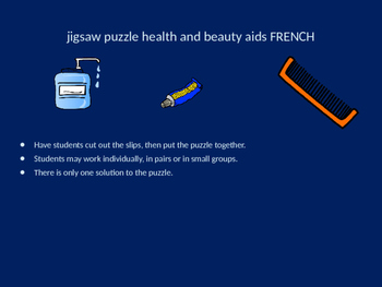 FRENCH bathroom products jigsaw puzzle